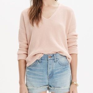 Madewell Pink Waffle Knit Sweater